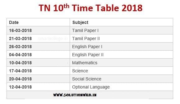 Tamilnadu 10th Time Table 2018 Solutionweb