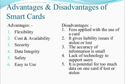 advantages and disadvantages of smart card
