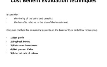 Cost-Benefit Evaluation